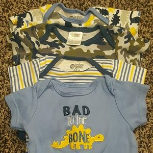 3-6 month boys 4 pack onsies bundle